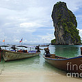 Long Tail Boats Thailand Poster by Bob Christopher