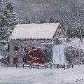 Longfellow's Grist Mill In Winter Print by Jack Skinner