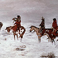 'Lost in a Snow Storm - We Are Friends' Print by Charles Marion Russell