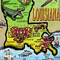 Louisiana Cartoon Map Poster by Kevin Middleton
