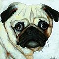 Love at First Sight - Pug Print by Linda Apple
