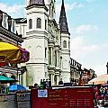 Lucky Dogs and St. Louis Cathedral Print by Kathleen K Parker