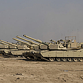 M1 Abrams Tanks At Camp Warhorse Print by Terry Moore