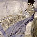 Madame Monet on a Sofa Print by Pierre Auguste Renoir