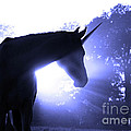 Magic Unicorn in Blue Poster by Sari ONeal