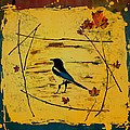 Magpie Framed in Maple Poster by Carolyn Doe