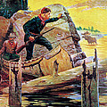 Man And Guide In Canoe Print by R Farrington Elwell