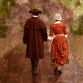Man and Woman in 18th Century Clothing Walking Poster by Jill Battaglia