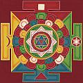 Mandala of the 5 Elements Earth-Water-Fire-Air-Space Print by Carmen Mensink
