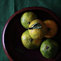 Mandarin Orange In Wooden Bowl Poster by © Miss Snail All right reserved