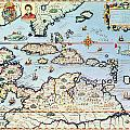 Map of the Caribbean islands and the American state of Florida  Poster by Theodore de Bry