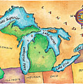 Map Of The Great Lakes Print by Jennifer Thermes