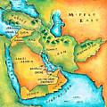Map Of The Middle East Print by Jennifer Thermes