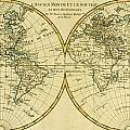 Map of the World in two Hemispheres Print by Guillaume Raynal