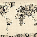 Map of the World Map from Old Clocks Print by Michael Tompsett