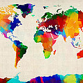 Map of the World Map Poster by Michael Tompsett