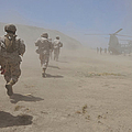 Marines Move Through A Dust Cloud Print by Stocktrek Images