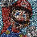 Mario Bottle Cap Mosaic Print by Paul Van Scott