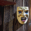 Mask on barn door Print by Garry Gay