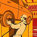 Mechanic Automotive Repairman Retro Print by Aloysius Patrimonio