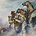 Men and Horses Battling a Storm Print by James Edwin McConnell