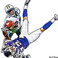 Miami Dolphins Vontae Davis and Minnesota Vikings Percy Harvin  Poster by Jack K
