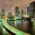 Miami Skyline At Night Poster by Steve Whiston - Fallen Log Photography