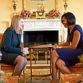 Michelle Obama Greets Mrs. Ada Print by Everett