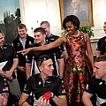 Michelle Obama Talks With Participants Print by Everett