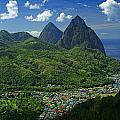 Midday- Pitons- St Lucia Print by Chester Williams