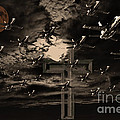Midnight Raid Under The Golden Moonlight Print by Wingsdomain Art and Photography