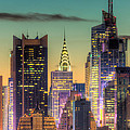 Midtown Buildings Morning Twilight Print by Clarence Holmes