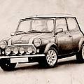 Mini Cooper Sketch Poster by Michael Tompsett
