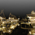 Misty NightShot at Bamboo FLoating Huts Poster by Tonny Ernawan