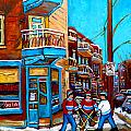 MONTREAL CITY SCENE HOCKEY AT WILENSKYS Poster by CAROLE SPANDAU
