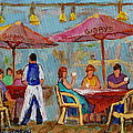 MONTREAL OUTDOOR TERRACE CAFE CITY SCENE Poster by CAROLE SPANDAU