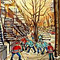 MONTREAL STREET HOCKEY PAINTINGS Poster by CAROLE SPANDAU