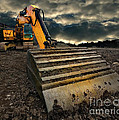 moody excavator Poster by Meirion Matthias