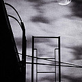 moon over brooklyn rooftop Poster by Gary Heller