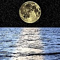 Moon Over The Sea, Composite Image Print by Victor De Schwanberg