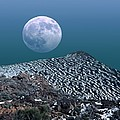 Moon-rise Over A Volcano Print by Detlev Van Ravenswaay