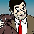 Mr Bean and Teddy Poster by Jera Sky