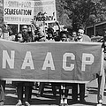 Naacp Banner Is Held By Protesters Poster by Everett