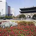 Namdaemun Gate with Flowers in Foreground Print by Jeremy Woodhouse
