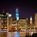 New York City Tribute in Lights and Lower Manhattan at Night NYC Poster by Jon Holiday