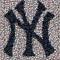 New York Yankees Bottle Cap Mosaic Poster by Paul Van Scott