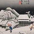 Night Snow Poster by Hiroshige