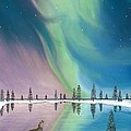 Northern Lights The Wolf and The Comet  Print by Jackie Novak