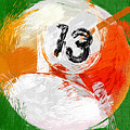 Number Thirteen Billiards Ball Abstract Print by David G Paul