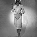 Nurse Holding Medical Chart Posing In Studio, (b&w), Portrait Poster by George Marks
